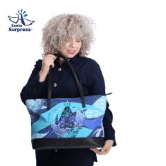 Bolsa Feminina Nossa Senhora Aparecida - Estampa Coroa Azul